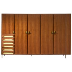 Large Italian Cabinet in Teak and Brass