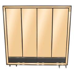 Large Italian Sandro Petti Black Lacquered Brass Mirrored Wardrobe Cabinet 1970s