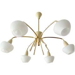 Large Sputnik Glass Brass Chandelier Pendant Light, Stilnovo Gio Ponti Era
