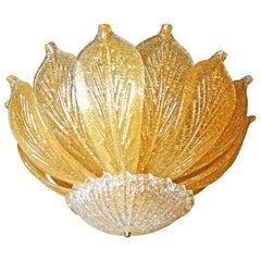 Large Venini Murano Amber Glass Gold Inclusion Chandelier attr. Barovier & Toso