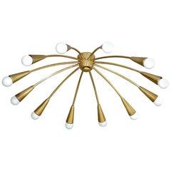 Large Midcentury Sputnik Flushmount Brass Ceiling Lamp Kaiser Kalmar Stilnovo