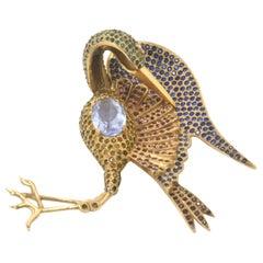 Large Rhinestone Crane Bird Gold Plated Brooch