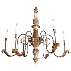 Large Scale Forged Iron and Carved Wood Chandelier