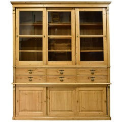 Large Store Cabinet or Bookcase in Pine, Northern, Europe, circa 1880