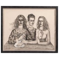 Las Tres Fridas 'The Three Fridas', Stone-Cut Lithograph