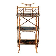 Late 19th Century Bamboo Chippendale Style Lacquer Decorated Etagere