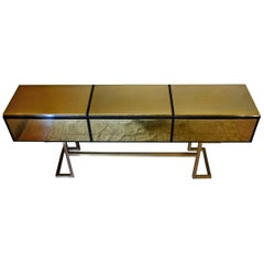 Italian Black Lacquered Wood and Brass Console with Three Drawers