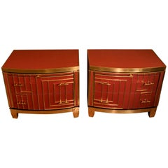 Late 20th Pair of Italian Red Coral Opaline Glass, Wood and Brass Nightstands
