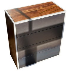 Lateral Dresser Metal and Hardwood Dresser with Brass Inlay and Hot Rolled Steel