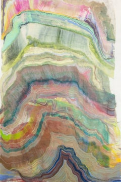 Foundation Seven, Colorful Pink, Green, Brown Yellow Abstract Encaustic Monotype