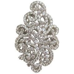 Lavish Large 9.5 Carat Diamond Swirling Motif 18 Karat White Gold Cocktail Ring