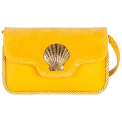 Le Deff yellow leather suede shoulder bag