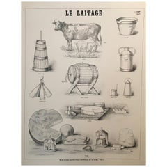Le Laitage- Musee Scolaire Paris Original Vintage French Diary Farm Poster