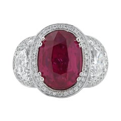 Le Vian Couture Three-Stone Oval Ruby and Half Moon Diamond Ring 6.40ct Center