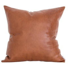 Leather Cushion in Brown Tan and Flax Linen by Mr and Mrs White