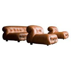 "Leather ""Soriana"" Sofa Set by Afra & Tobia Scarpa for Cassina, 1970, Italy"