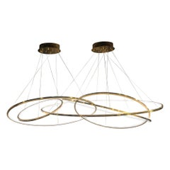 LED Oval Rings Five Horizontal Chandelier Pendant Light in Gold Contemporary