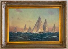 Setting the Pace, original 24x36 impressionist marine landscape