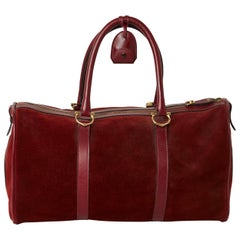 Les Must de Cartier Bordeaux Suede Boston Weekender Duffle Bag, circa 1975