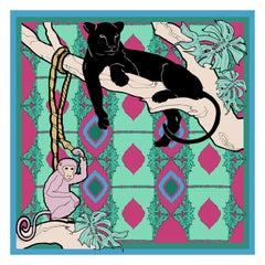Les Ottomans Panther and Monkey Patterned Silk Turkish Scarves by Alessio Nessi