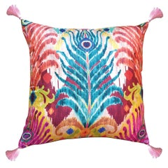 Les Ottomans, Peacock Feather 'Silk Cushion' by Matthew Williamson