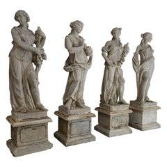 Les Quatre Saisons, the Four Seasons, Cast Stone Garden Statues on Pedestals