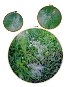 Southern Song - 3-part grass & flower landscape on fabric in embroidery hoops