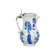 Lidded Jar, Chinese Porcelain, Figures Flowers, Yu Marked, 1700 Kangxi
