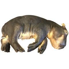 Lifelike Replica of a Hippo Calf