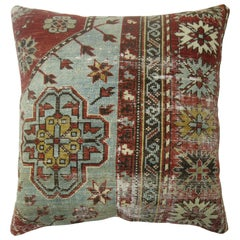 Light Gray Blue Red Shabby Chic Caucasian Rug Square Rug Pillow
