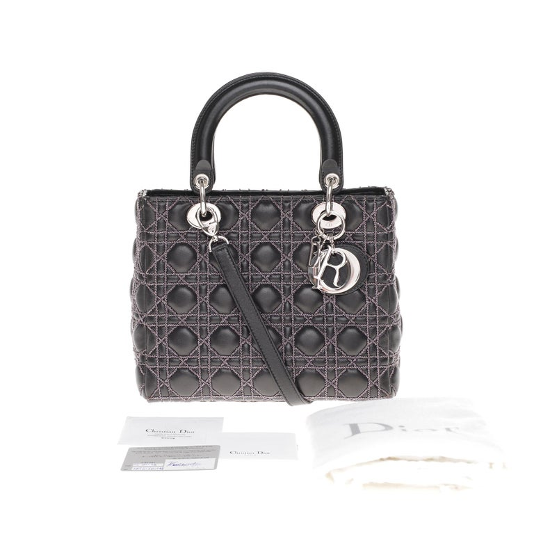 Limited Edition-Christian Dior Lady Dior MM handbag in black cannage leather For Sale 8