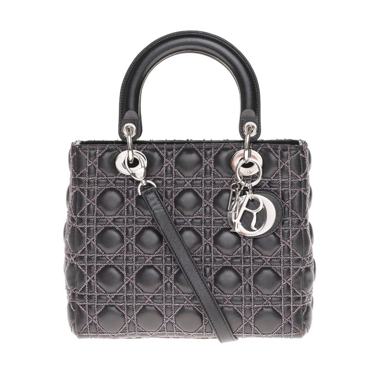Rare Model - Limited Edition -  Sublime shoulder bag Dior Lady Dior medium model in black cannage leather and metal color stitching, silver metal hardware, double handle in black leather, removable shoulder strap in black leather handle allowing a