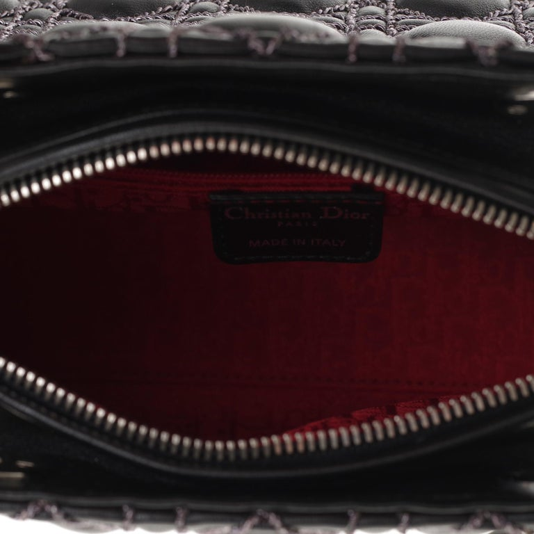 Limited Edition-Christian Dior Lady Dior MM handbag in black cannage leather For Sale 5