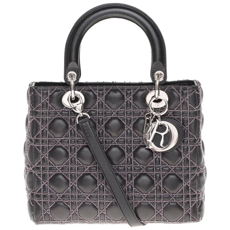 Limited Edition-Christian Dior Lady Dior MM handbag in black cannage leather For Sale
