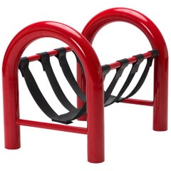 Limited Edition Tubular Magazine Rack by Another Human, Red and Black