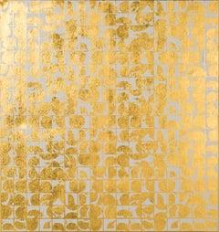 ROUNDS NEGATIVE CANVAS I (BONE) (design gold white metallic work on canvas)