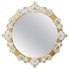 Lladro Round Large Mirror in Gold Lustre & White
