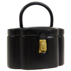 Loewe Black Leather Gold Mini Small Vanity Evening Top Handle Satchel Tote Bag