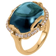 London Blue Topaz Cushion Cabochon Ring with Diamonds