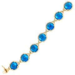 London Blue Topaz Sugar Loaf Bracelet with Diamonds