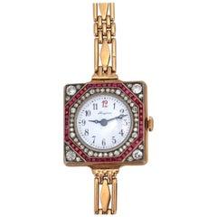 Longines Gold Rubies Diamonds Russian Gold Lady Watch Bracelet 1910