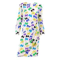 Louis Feraud Vintage Silk Dress in Colorful Kite String Bow Print
