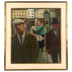 Louis Francois Decoeur, Rue Animée, Oil on Canvas, Signed