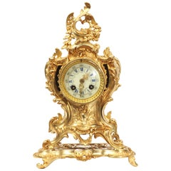 Louis Japy Antique French Gilt Bronze Rococo Clock, Dolphins