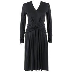 LOUIS VUITTON A/W 2009 Black Knit Ruched Peplum Long Sleeve Cocktail Dress