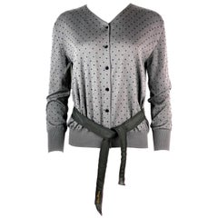 LOUIS VUITTON Black and Grey Polka Dot Cashmere Sweater w/ Buttons and Belt