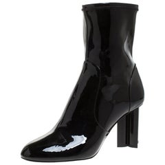 Louis Vuitton Black Patent Leather Silhouette Ankle Boots Size 39.5