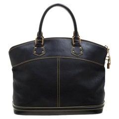 Louis Vuitton Black Suhali Leather Lockit MM Bag