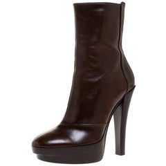 Louis Vuitton Brown Leather Platform Ankle Boots Size 37.5