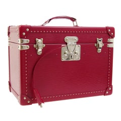 Louis Vuitton Fuchsia Pink Leather Travel Vanity Top Handle Storage Box Trunk